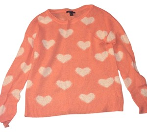 Forever 21 White Hearts Sweater
