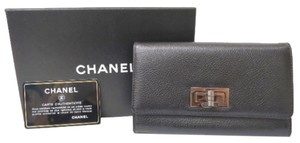 Chanel Chanel 2.55 Black Calfskin Leather Silver Hardware Wallet In Box