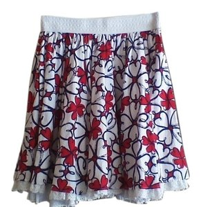 Forever 21 Circle Lace Trim Skirt Red, White, and Blue