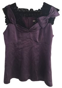 Nanette Lepore Silk Top purple with black lace