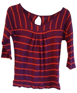 Ann Taylor LOFT Pleating Keyhole Top Purple & Orange Stripes