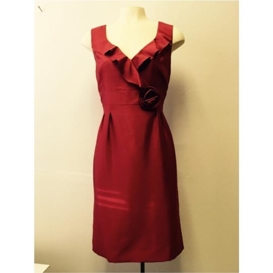 Tahari By Arthur S. Levine - Ruffled Neckline Sheath - Size: 12 Dress - 60% Off Retail 85%OFF