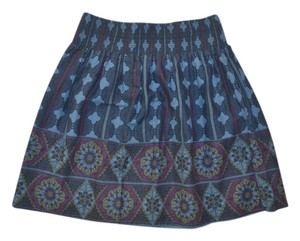 Aropostale Lawn Gathered Lavendar Mini Skirt Blue Print