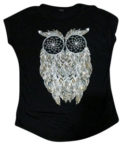 MRT1030 Black Owl Metallic Gold T Shirt Black/Gold/Silver