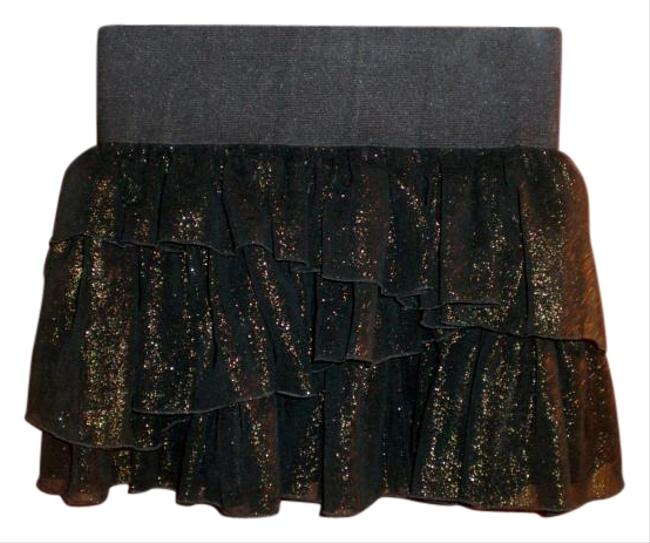 Divided by H&M Ruffles Ultra Mini Sexy Short Funky Fun Mini Skirt Black with Gold Sparkles