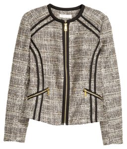 H&M Tweed Tweed Jacket Jacket Tan And Black Blazer