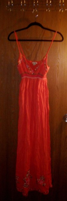Orange with pink, purple, red, and green embroidery Maxi Dress by Forever 21 Maxi Sexy Low Cut Comfortable Cotton Floral