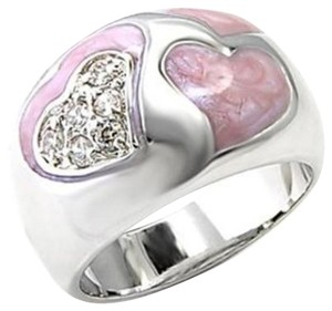 Other New Size 8, Rhodium Plated Pink Enamel & Clear CZ Heart Ring