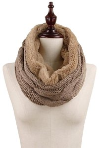 Taupe Chunky Cable Knit & Faux Fur Infinity Scarf