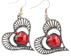 New Vintage Style Red Antiqued Tibet Silver Hearts Earrings