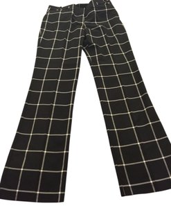 New York & Company Straight Pants checked black & white