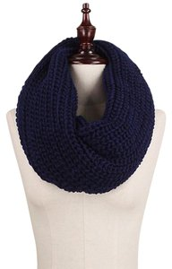 Navy Chunky Solid Rib Knit Infinity Scarf