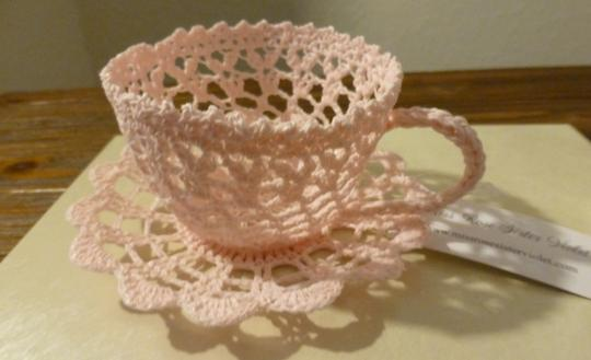 Pink Crochet Lace Teacup And Saucer Set Of 4