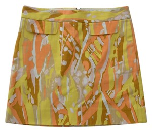 J.Crew Pencil Cotton Spring Skirt Yellow/Orange Graphic Print