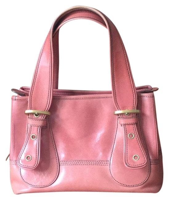 Item - Melon/ Pink Lining/Gold Buckles Leather Satchel