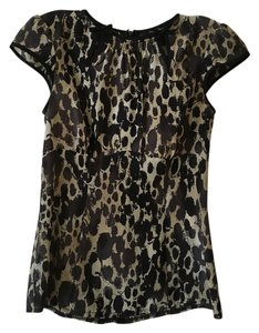 Nanette Lepore Top animal print black and tan/olive