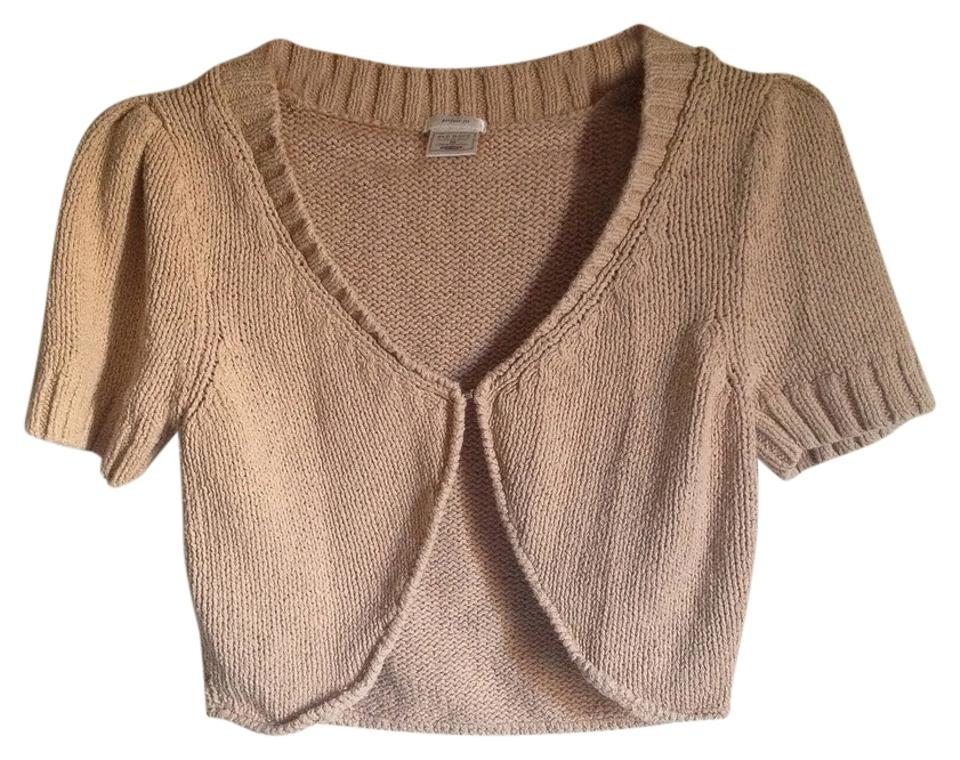 5d98a39d98b43 Old Navy Beige Tan Brown Cropped Short Sleeve Shrug Cardigan. Size: 8 ...