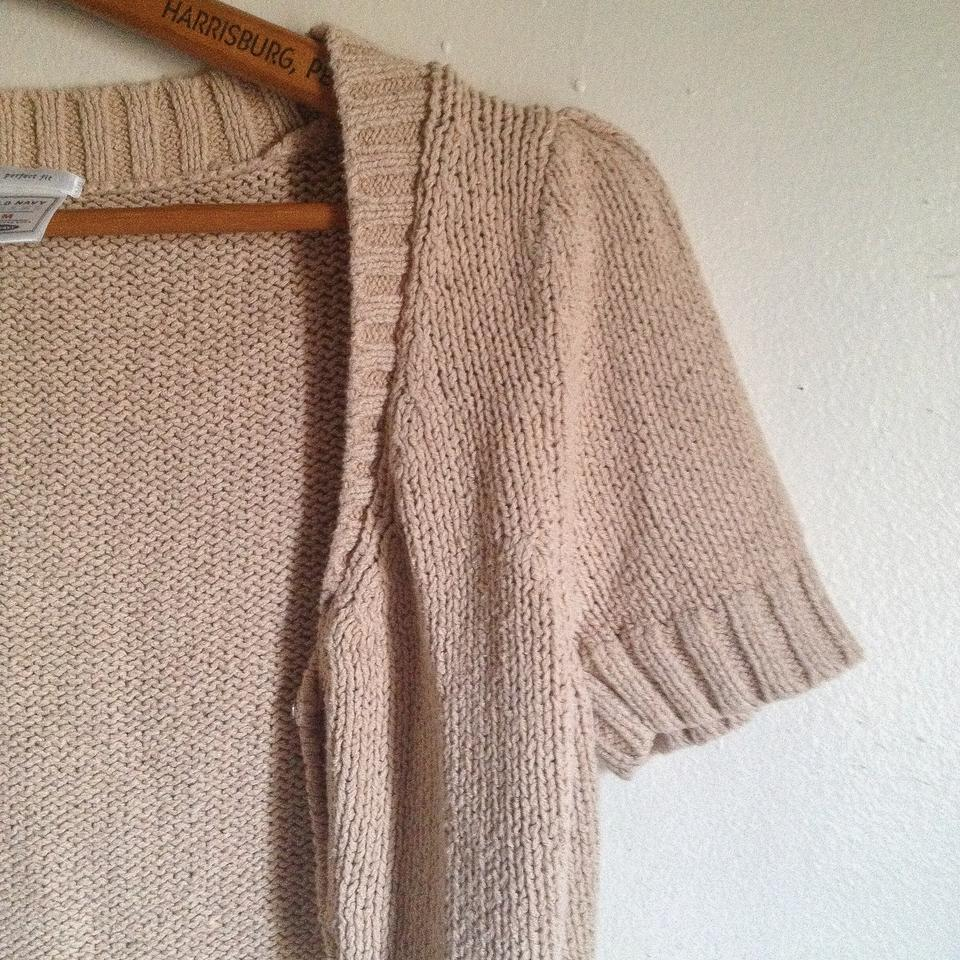 Old Navy Tan Brown Cropped Short Sleeve Shrug Cardigan on Tradesy