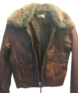 LF Leather Vintage Faux Fur Moto Cropped Cropped Leather Leather Brown Leather Jacket