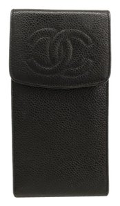 Chanel Chanel Vintage Black Caviar Leather CC Logo IPhone Cell Phone Tech Accessory Case