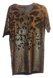 French Connection Cut- Cut Sequin Sequin Bronze Cocktail Mesh Sheer Shift Metallic Metallic 0/2 Dress