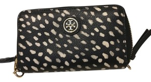Tory Burch Zip Smartphone Wristlet in spotted black and white