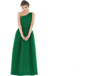 Alfred Sung Pine Green Peau De Soi Style D531 Formal Bridesmaid/Mob Dress Size 6 (S)