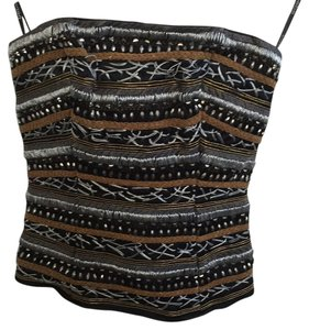 bebe Embellished Strapless Sequin Top Black, Silver, Gold