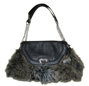 Jennifer Lopez Satchel in black and brown faux fur