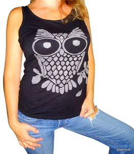 Love Culture Owl Racerback Owl Racerback Fitness Cotton Shirt Gym Cotton Top Black Grey Gray