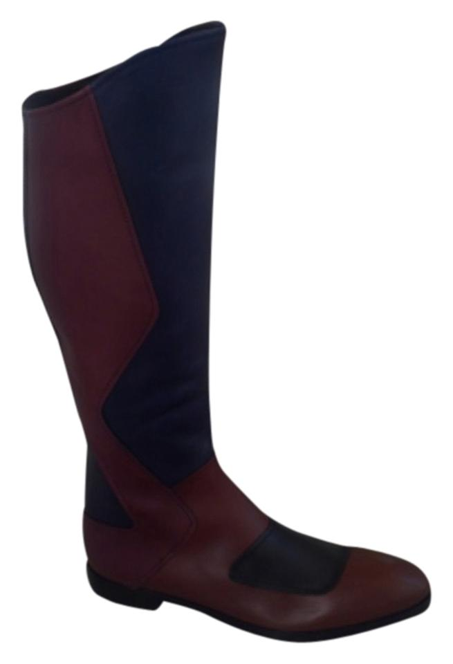 Miu Miu Black Burgundy Boots/Booties Brown Navy Leather Riding Boots/Booties Burgundy f3d8f4