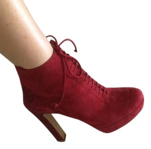 Prada Sparkle Heel Laceup Ankle Burgundy red suede Boots