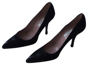 Prada Alligator Satin Black Pumps