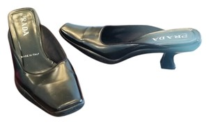 Prada Mule Slide On Italian Leather Black Mules