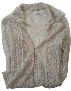 Lunachix Lace Stretch Tan Casual Work Business Night Out Top Beige