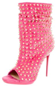 Christian Louboutin Gold Hardware Spiked Studded Embellished Guerilla Pink, Gold Boots