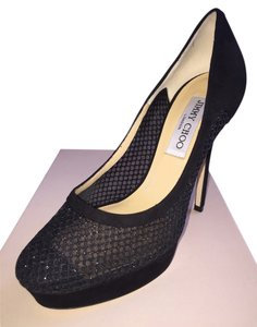 Jimmy Choo Tesia Mesh Black Pumps