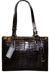Brahmin Leather La Scala Tote in Espresso Brown