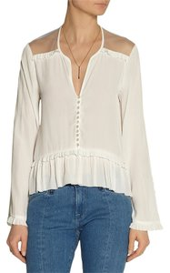 Elizabeth and James Voille V-neck Ruffle Designer Top White