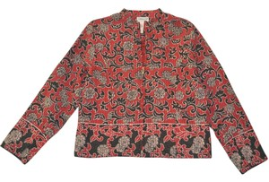 Coldwater Creek Coldwater Creek Zippered Jacket in Red Kantha Cloth