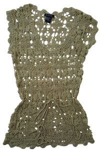 Cool Attitudes 100% Rayon Crocheted Top Green