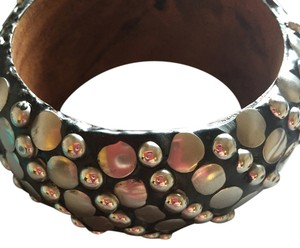 Black/Brown and Studded Bangle Bracelet - Pair