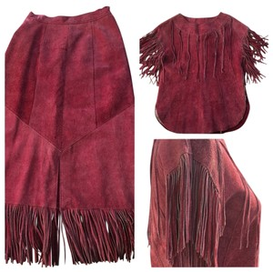 Vintage Cowhide 100% Suede Fringed Skirt & Top