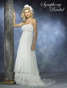 Symphony Bridal Ivory Pleated Chiffon S2323 Wedding Dress Size 8 (M)