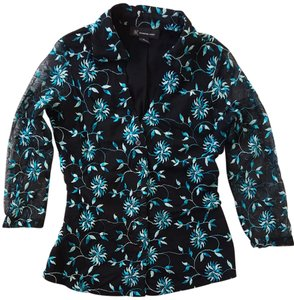 INC International Concepts Turquoise White Embroidered Lace Sheer 3/4 Sleeve Top Black