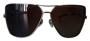 Chanel Gold Chanel Aviator Sunglasses w/ Leather Trim