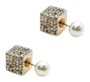 Liy Couture Dual Pave And pearl gold Cube