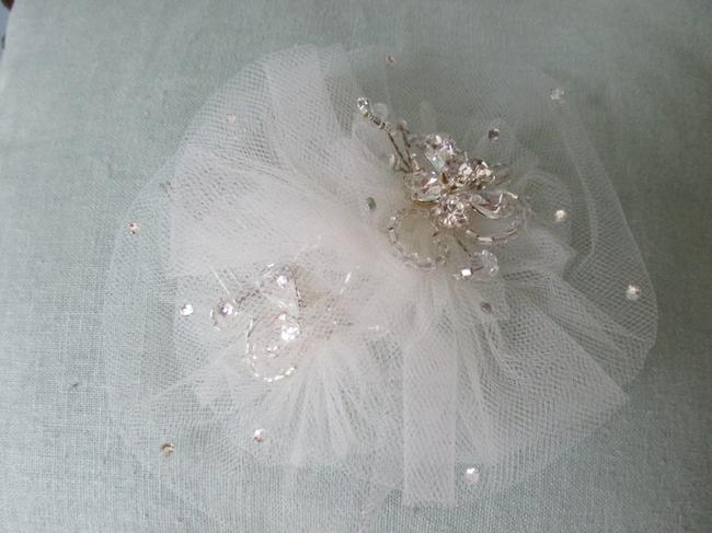Light Ivory Tulle Crystals Flower Comb Hair Accessory Light Ivory Tulle Crystals Flower Comb Hair Accessory Image 1