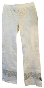 Patrizia Pepe Designer Boot Cut Pants White with gold embroidery