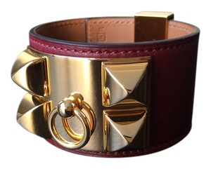 Hermès Hermes Red Collier De Chien (CDC) Leather Bracelet w/ Gold Hardware